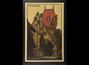 Ansichtskarte Landshut an der Isar Ndb. Im Burghof derBurg Trausnitz Zeichnung