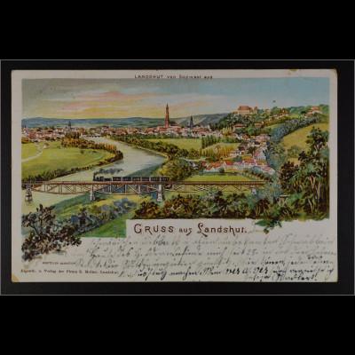 Ansichtskarte Landshut an der Isar Ndb. Stadtansicht von Südwest aus
