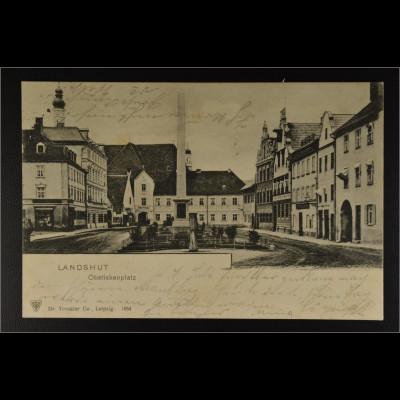 Ansichtskarte Landshut Ndb. Obeliskenplatz im Hintergrund Kloster Seligenthal