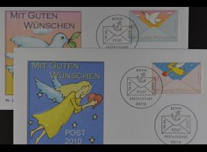 Bund BRD Ersttagsbrief FDC Michel Nr. 2790-91, Post: Grußmarken (II), 8.4.2010