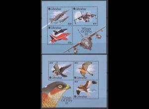 Gibraltar 2001 Michel Nr. Blockpaar 46-47 ** Kampfflugzeuge und Greiffögel (III)