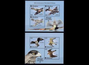 Gibraltar 2000 Michel Nr. Blockpaar 43-44 ** Kampfflugzeuge und Greiffögel (II)