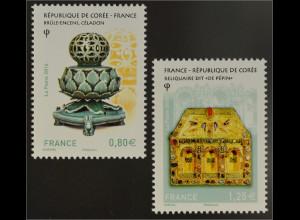 Frankreich France 2016 Nr. 6473-74 Gemeinschaftsausgabe Südkorea Keramik Silber