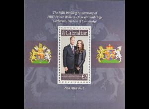 Gibraltar 2015 Block 125 5. Hochzeitstag von Prinz William Fürstin Kate Adel