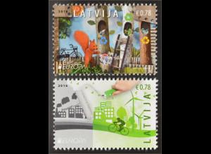 Lettland Latvia 2016 Michel Nr. 980-81A Europa Think Green Ökologie Umweltschutz