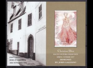 Gibraltar 1997 Michel Nr. Block 30 John Galliano Modedesigner (Christian Dior)