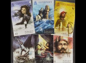Guernsey 2016 Nr. 1561-66 150. Jahre Roman Die Arbeiter des Meeres Victor Hugo