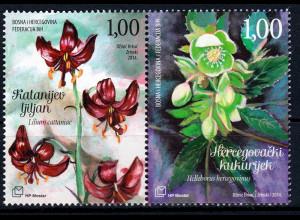 Bosnien Herzegowina Kroatische Post Mostar 2014 Nr. 396-97 Flora