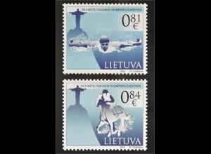 Litauen Lithuania 2016 Nr. 1222-23 Olympiade Rio de Janeiro Schwimmen Reiten