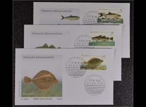 Bund BRD Ersttagsbrief FDC 4. August 2016 Nr. 3255-57 Heimische Salzwasserfische