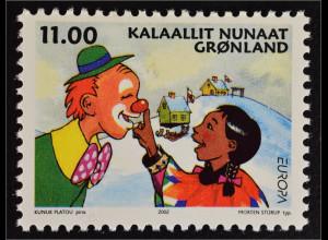 Grönland Greenland 2002 Michel Nr. 385 Europa Zirkus Briefmarke