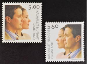 Grönland Greenland 2004 MiNr. 416-17 Hochzeit Kronprinz Frederik Mary Donaldson