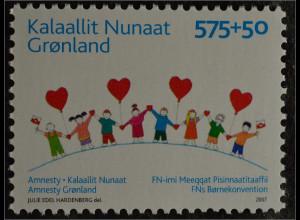 Grönland Greenland 2007 Michel Nr. 479 Amnesty Kinderrechtskonvention Herz