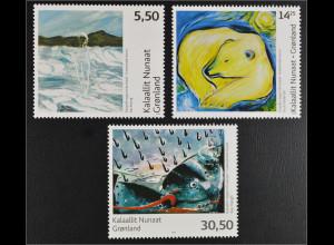 Grönland Greenland 2008 Michel Nr. 506-08 Zeitgenössische Kunst Gemälde Eisbär