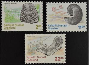 Grönland Greenland 2009 Michel Nr. 529-31 Fossilienfunde Schizoneura Scaphites