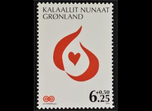 Grönland Greenland 2009 Michel Nr. 532 Grönländische Krebshilfe Herzmotiv