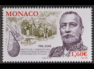 Monako Monaco 2016 Nr. 3303 100 Jahre Ausgrabungen in der Observatoriumsgrotte