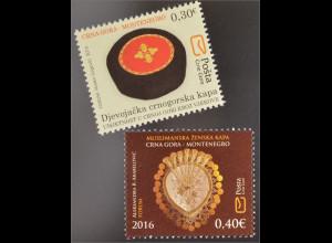 Montenegro 2016 Nr. 381-82 Kunst in Montenegro über Jahrhunderte Kopfbedeckung