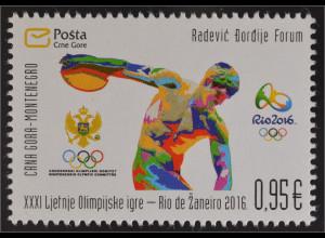 Montenegro 2016 Nr. 391 Olympische Spiele in Rio de Janeiro Diskuswerfer