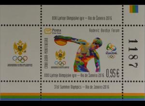 Montenegro 2016 Block 19 Olympische Spiele in Rio de Janeiro Diskuswerfer