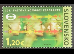 Slowakei Slovakia 2016 Nr. 796 Esperanto Weltkongress Emblem Weltveranstaltung