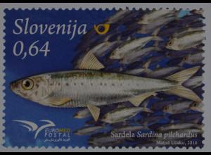 Slowenien Slovenia 2016 Michel Nr. 1213 Euromed Postal Fische des Mittelmeeres