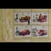 Ungarn Hungary 2016 Block 389 Feuerwehrfahrzeuge Feuerwehrwagen mit Dampfkessel