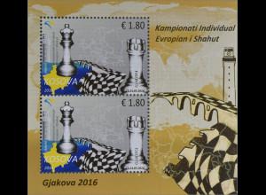 Kosovo 2016 Block 37 Europäische Schachmeisterschaft Schach Brettspiel Dame