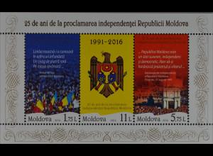 Moldawien Moldova 2016 Block 74 Jubiläum 25 Jahre Unabhängigkeit Feiertag