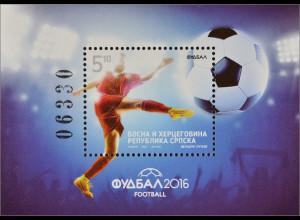 Bosnien Herzegowina Serbische Republik 2016 Block 32 Fußball Europameisterschaft