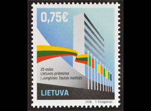 Litauen Lithuania 2016 Nr. 1224 25 Jahre UNO-Mitgliedschaft Vereinte Nationen