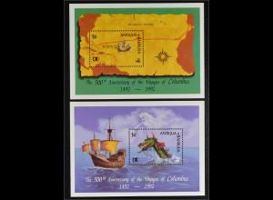 Barbuda Antigua und Barbuda 1992 Block 192-93 Entdeckung Amerikas Kolumbus
