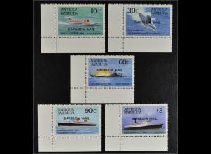 Barbuda Antigua und Barbuda 1987 Michel Nr. 963-67 Schlachtschiffe Unterseeboot