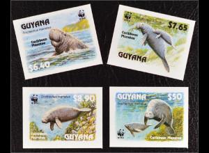 Guyana 1993 Michel Nr. 4081-84 U WWF Weltweiter Naturschutz Nagel-Manati