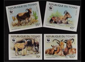Tschad 1988 Michel Nr. 1171-74 U WWF Weltweiter Naturschutz Mähnenspringer