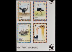 Tschad 1996 Michel Nr. 1370-73 B ungezähnte WWF Ausgabe Nordafrikanischer Strauß