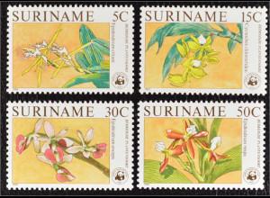 Surinam 1986 Michel Nr. 1166-69 Orchideen mit WWF Logo Epidendrum vespa