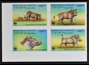 Dschibuti 2000 Michel Nr. 678-81 ZD U WWF Eritrea Warzenschwein