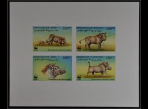 Dschibuti 2000 Michel Nr. 678-81 De Luxe Block WWF Eritrea Warzenschwein
