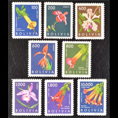 Bolivien 1962 Michel Nr. 672-79 Einheimische Blumen und Blüten