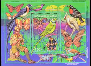 Guinea 1988 Block 305 A Pfadfinderbewegung Vögel und Schmetterlinge