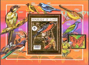 Guinea 1990 Block 362 A Pfadfinderbewegung Vögel und Schmetterlinge