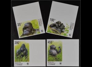 Kongo Kinshasa 2002 Michel Nr. 1708-11 U WWF Naturschutz Flachlandgorilla