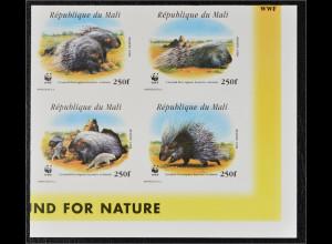 Mali 1998 Michel Nr. 1974-77 ZD U WWF Nordafrikanisches Stachelschwein