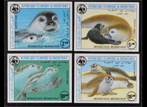 Mauretanien 1986 Michel Nr. 871-74 U WWF Weltweiter Naturschutz Mönchsrobbe