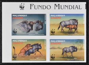 Mocambique 2000 Michel Nr. 1757-60 ZD U WWF Weltweiter Naturschutz Streifengnu