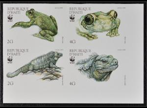 Haiti 1999 Michel Nr. 1588-91 ZD U WWF Weltweiter Naturschutz Laubfrosch Leguan
