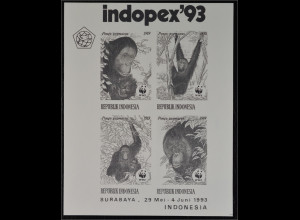 Indonesien 1993 Nr. 1291-94 Schwarzdruck Block WWF Orang Utan Indopex 1993