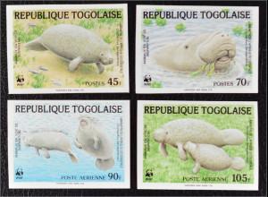 Togo 1984 Michel Nr. 1763-66 U WWF Weltweiter Naturschutz Manati