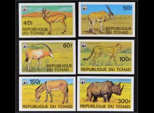 Tschad 1979 Michel Nr. 849-54 U WWF Weltweiter Naturschutz Seltene Tiere Afrikas
